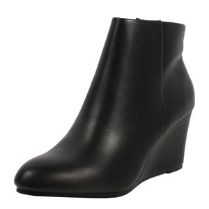 Black Faux Leather  Wedge Ankle Bootie